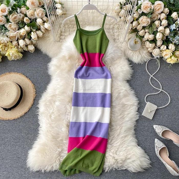 JOYMANMALL 2020 Women Dress Striped Knitted Sexy Bodycon Dresses Spring Summer High Waist Stretch Vestidos Elegant 15871