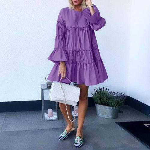 Dress Casual Flare Sleeve Solid Robe Plus Size Tutu Dresses Femme Elegant Party Holiday Loose Sundress Casual Dress