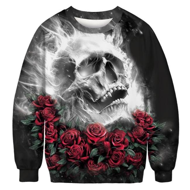 Skull Rose Printed Round Neck Pullover Top