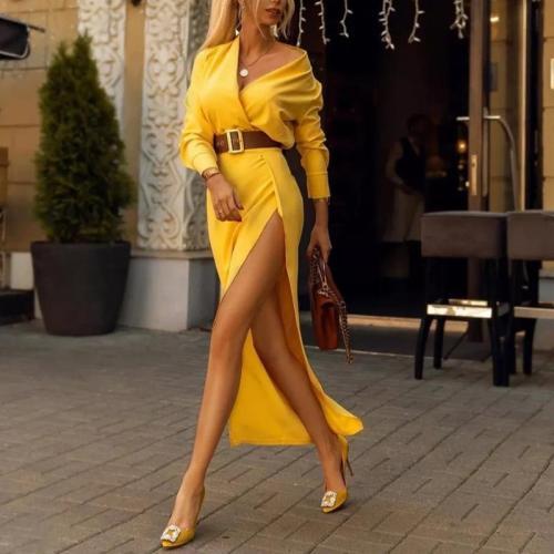 Fashion V-Neck Belt With Split Solid Color Maxi Dress