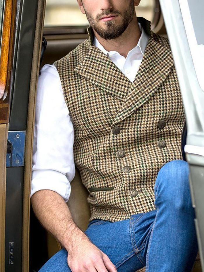 Men's Vintage Lapel Double-Breasted Plaid Vest