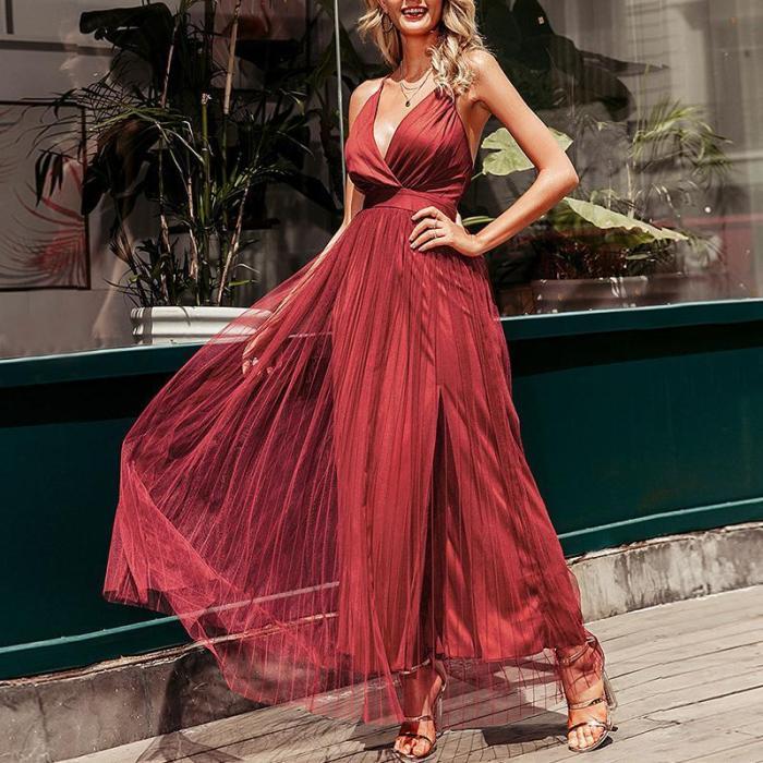 Sexy V-Neck Slit Evening Dress