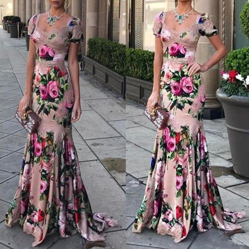 Fashion Sexy floral printed Fishtail Evening Dress Maxi Dress