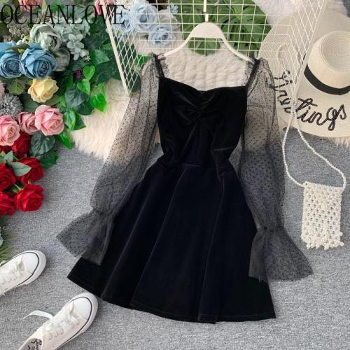 JOYMANMALL Velvet Party Dress Women Mesh Patchwork Sexy Bodycon Dresses 2020 Spring Vintage A-line Korean Vestidos Elegant 13695
