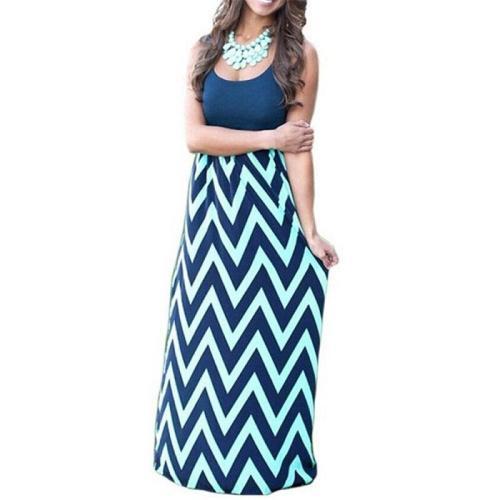 O Neck Tank Long Dress Summer Wavy Print Casual Maxi T Shirt Dresses Backless Slim Vestidos Mujer Streetwear High Waist Clothes