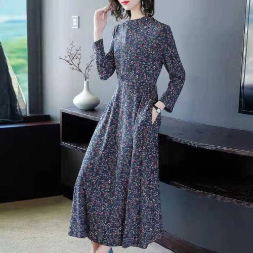 NEW Women Spring Floral Dress O-Neck Long Sleeve Elegant Dress Casual Party Maxi Dresses Pocket Long Dresses vestido de festa