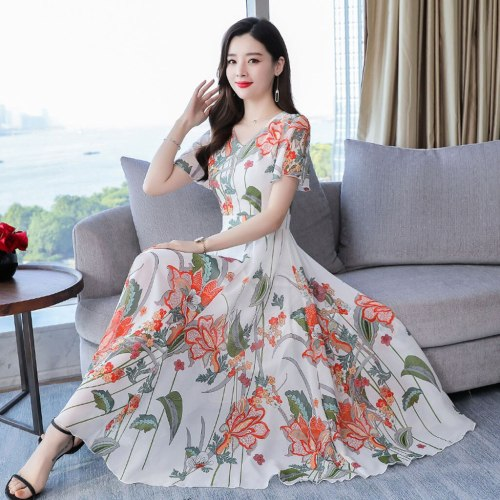 Elegant Boho Dress Women Long Dresses V-Neck Short Sleeve Long Floral Print Slim A-Line Party Maxi Dresses Ladies Beach Dresses
