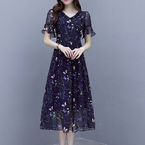 Vintage Dress For Women Mesh Short Sleeve Party Dress V Neck Butterfly Floral Printing Dresses Short Sleeve Spring Dresses 2021