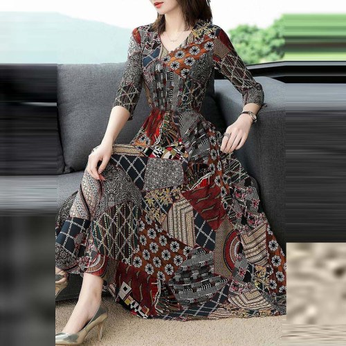 Boho Dress Women Floral Dress V-Neck Three Quarter Sleeve Long Elegant Dress Ladies A-line Party Maxi Dresses vestido de festa