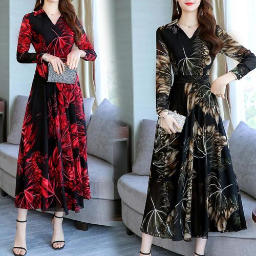 Women Floral Print V-Neck Large Swing Tight Waist Long Sleeve A-line Maxi Dress