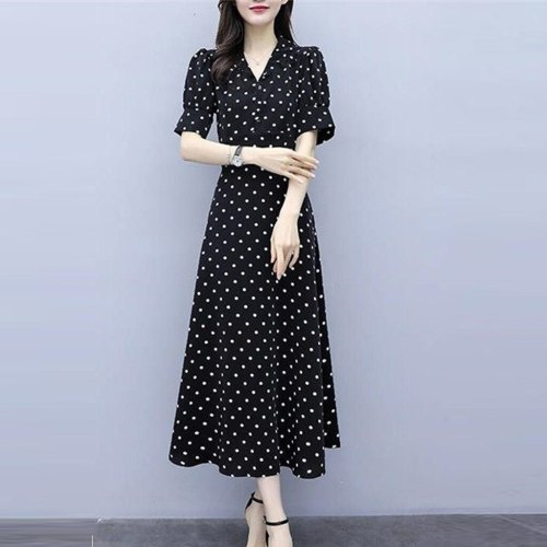 Women Boho Dress Fashion V-Neck Retro Long Dress Short Sleeve Wave Point Printing Party Dresses Casual Elegant Dresses sukienka