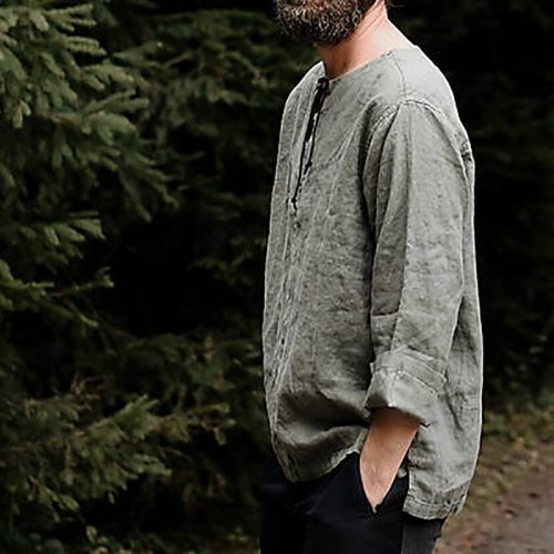 Men's shirt Camisa Summer long sleeve Cotton And Linen Male Blouse Top New Style Comfortable Men Beggar Shirt