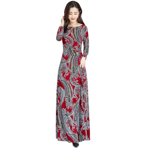 Fashion Women Casual Autumn Printed O-neck Long Sleeve Dress Long Dress New Chiffon Summer Dress Women Bow Spring Dresses