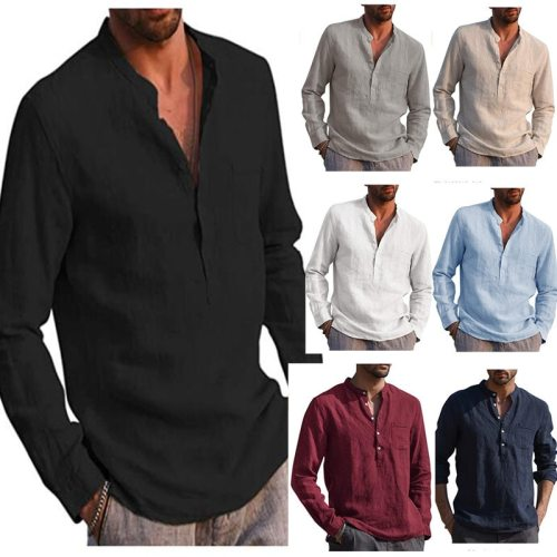 Men Shirts 2021 Hot Sale New Fashion Men's Long Sleeve V-neck Casual Beach Shirt Men's Clothing Large Size Chemise Homme