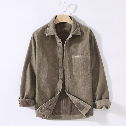 Men's Clothing 2021 Winter Warm Plus Velvet Padded Shirt Men's Casual Solid Color Pocket Decoration Can Wear Corduroy Shirt
