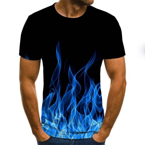 2021 New Flame Men's T-shirt Summer Fashion Short-sleeved 3D Round Neck Tops Smoke Element Shirt Trendy Men's T-shirt Collar