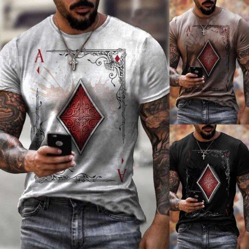 2021 playing cards diamond square printing skull T-shirt men's summer casual short-sleeved pullover loose top