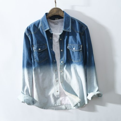 Men Clothing 2021 Autumn Winter New Stitching Two-color Shirt Men's Fashion Youth Casual Denim Shirt