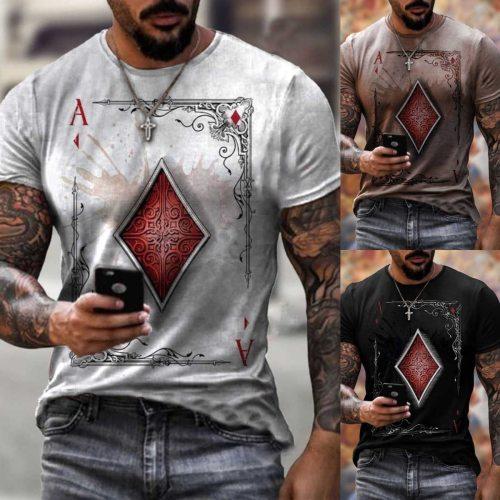 2021 Men's T-shirt Pleated Slim O-neck Short Sleeve Muscle Skull Flag Print Casual Top Shirt Summer Basic T-shirt New