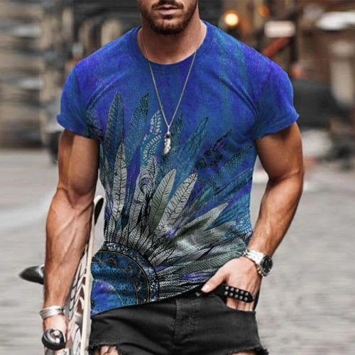 2021 summer casual short-sleeved T-shirt men's fashion poker print O-neck pullover top plus size men's t-shirt streetwear