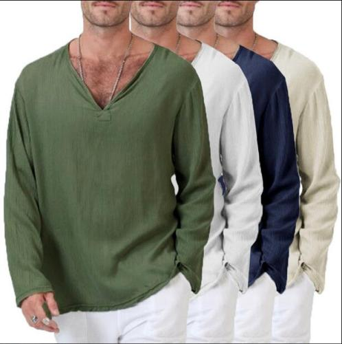 European and American new style linen ethnic loose men's V-neck solid color long-sleeved t-shirt