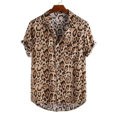 Camisas Para Hombre 2020 Summer Leopard Print Shirt Plus Size European American Casual Tops Hot Sale Men's Clothing