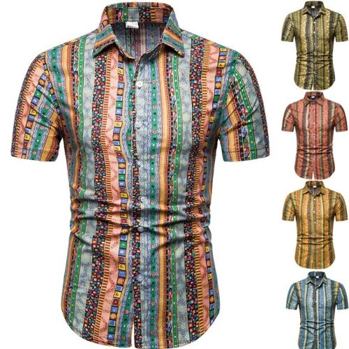 Top Selling Product In 2020 European and American Explosions Men's Printed Shirts Hawaiian Style Short-sleeved Flower Shirts