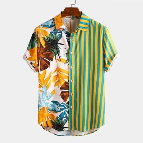 Fashion Men Hawaiian Shirt Short Sleeve Streetwear Print Striped Patchwork Summer Chic Blouse 2021 Beach Camisas