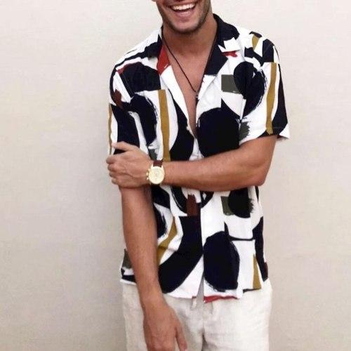 Shirt Men's Fashion Summer Printed Short-Sleeved Shirt turndown collar Streetwear Hip hop Tops mens shirts casual may29