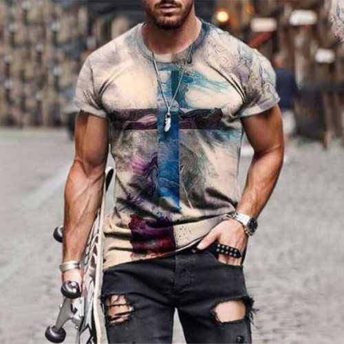 Men's Cross Short Sleeve Graphic T Shirts 2021 Summer Newest Fashion Anime Hip Hop Colorful Cross Printed Crew Neck Men Clothing