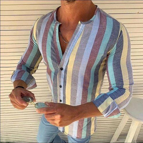 Ropa De Hombre 2021 European American New Style Striped Long-sleeved Linen Men's Casual Shirt Plus Size Camisas Para Hombre