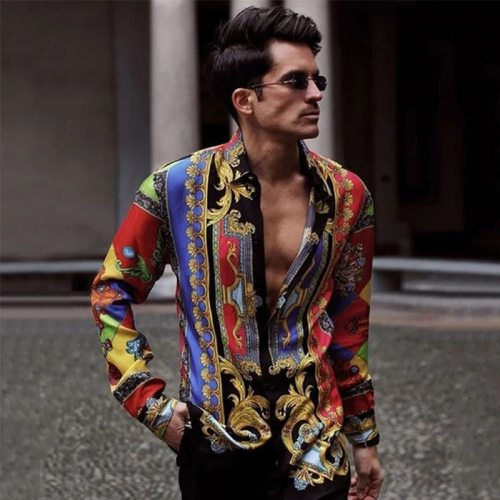 Men's Clothing 2021 European American Men's New Printed Long-sleeved Shirt Casual All-match Holiday Style Top Chemise Homme