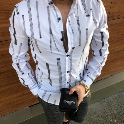 Hot Sale 2021 Autumn European American Men's Shirts New Casual Slim Printed Long-sleeved Shirts Plus Size Men's Clothing