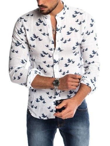 Hot Sale Autumn 2021 New Linen Men's Long Sleeve Shirt Casual Fashion 3D Print Stand Collar European American Shirts for Men