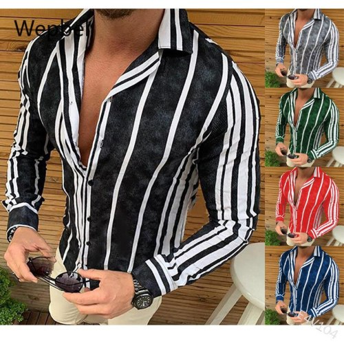 Men's Slim-Fit Lapel Top Men Plus Size Shirts Striped Shirt Single-Breasted Long-Sleeved Shirt Tops