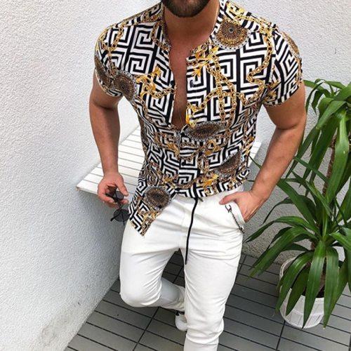 Hot Sale 2021 Summer New European American Men's Clothing Casual Fashion Printed Shirt Cardigan Short Sleeve Shirt Men