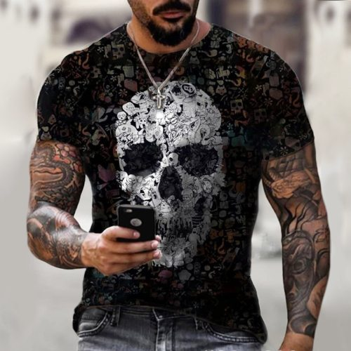 Summer New Black Men's T-shirt Fashion Gothic Skulls Print Vintage Casual Streetwear Short-sleeved T Shirt For Men Tops Clothes