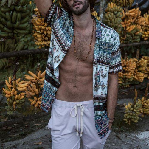 New Fashion High Quality Men Luxury Stylish Mens Multi Color Lump Chest Pocket Short Sleeve Round Hem Loose Shirts Blouse