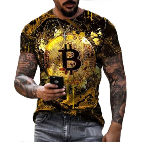 Men's Short Sleeve Loose T-shirt Bitcoin 3D Print Slim Round Neck Pullover Plus Size Casual Streetwear Fashion T Shirt For Men B