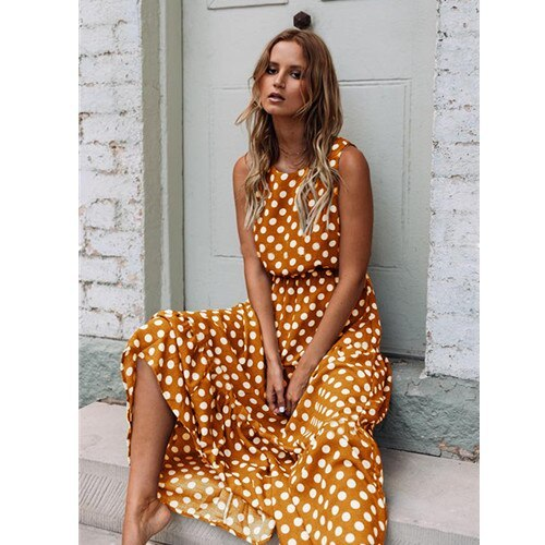 Summer Dress For Women Sleeveless Boho Polka Dot Print Maxi Dress 2021 Elegant Beach Party Long Dress Casual Empire Robe Vestido