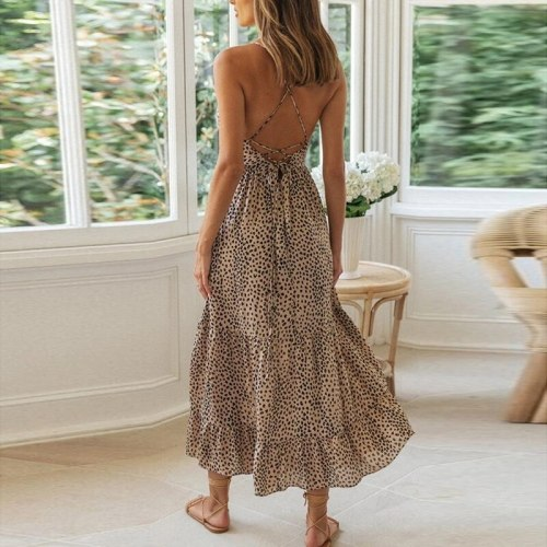 Sexy Backless Lace Up Summer Dress Women 2021 Casual Sleeveless Leopard Print Maxi Boho Midi Dresses Lady Long Vestidos Feminino