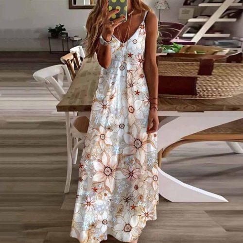 Women Dress Summer Boho Floral Long Maxi Evening Party Beach Dress Floral Sleeveless V Neck Sundress vestidos платье летнее 2021