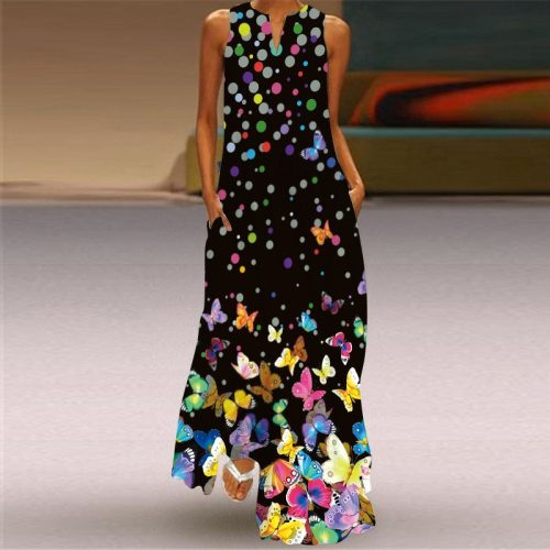 Women's Dress Summer Sleeveless Pocket Loose Dress 2021 Print Butterfly Maxi Dress V-Neck Sexy Female Long Dresses Plus Size
