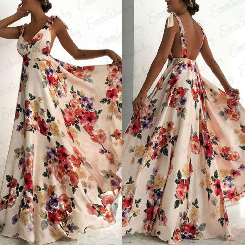 Fashion Summer Women Boho Long Maxi Dress Backless Sleeveless V Neck Flower Dress Evening Party Beach Dresses Sundress
