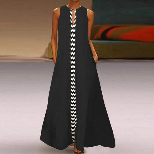 Ankle Length Women Dress Vintage Spliced Sleeveless Synthetic Fiber Vestidos Zipper Printed Patchwork Lady Dress Plus Size 4XL