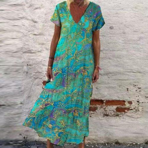 Summer New Elegant Women V-Neck A-Line Party Dress Vintage Print Fashion Casual Loose Sleeveless Dress Female Streetwear Vestido