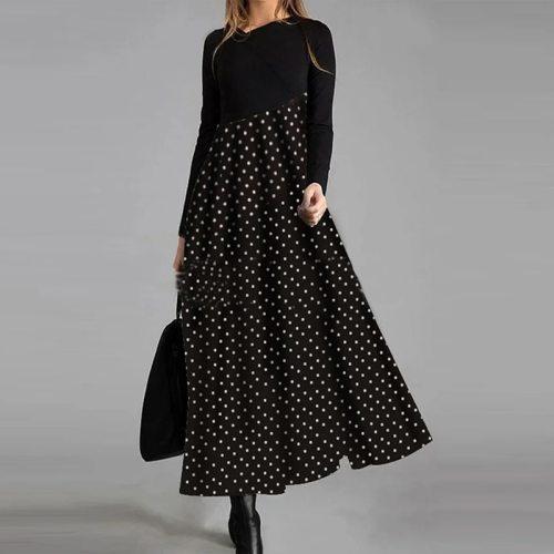 Black Cat 3D Print Maxi Dress Women 2021 Spring O Neck Long Sleeve Party Dresses Lady Patchwork Stripe Loose Long Dress Vestidos