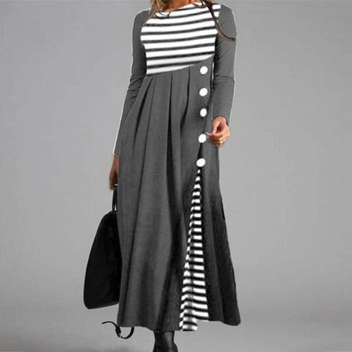 Vintage Maxi Dresses Sexy Double-layer Polka Dot Print Long Dress Women Autumn Buttoned Patchwork Party Dress Winter Long Sleeve