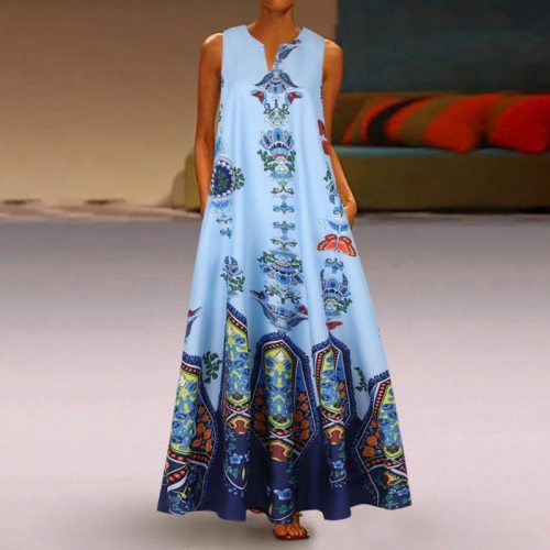 Women Summer Dress 2021 Printing Sexy Dress Casual Vintage Loose Sleeveless Sundress Long Maxi Dress Plus Size Tank Vestidos