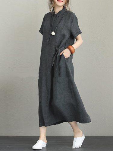 Women's Casual Button Loose Waist Short Sleeve Pocket Lady Dress Turn Down Collar Women Dress Ankle Length Dress